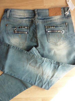 blue Jeans mit Nieten gerader Schnitt 38 JEANS STREET FASHION LOOK