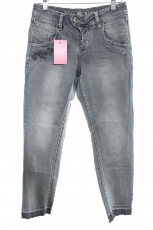 Blue Monkey 7/8 Jeans grau Blumenmuster Jeans-Optik