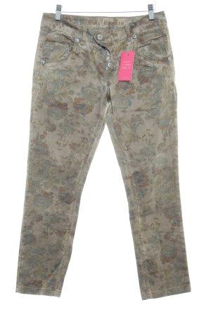 Blue Monkey Pantalon taille basse gris brun-gris vert motif floral
