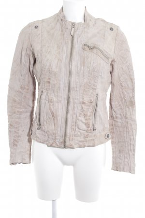 Blue Monkey Faux Leather Jacket oatmeal-grey brown reptile print