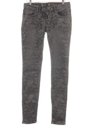 Blue Monkey Skinny Jeans grau-silberfarben Blumenmuster Casual-Look