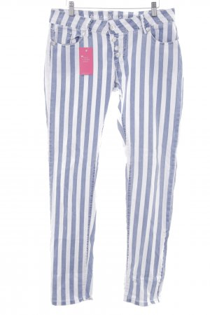 Blue Monkey Skinny Jeans white-blue striped pattern urban style