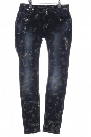 Blue Monkey Slim Jeans blau-silberfarben abstraktes Muster extravaganter Stil
