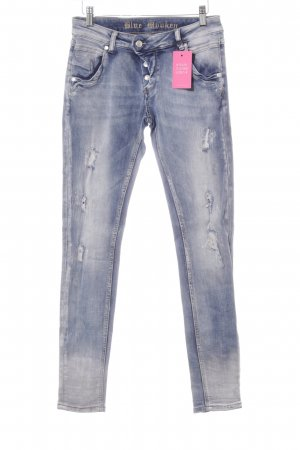 Blue Monkey Slim Jeans blau Used-Optik