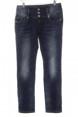 Blue Monkey Slim Jeans dark blue-slate-gray weave pattern casual look