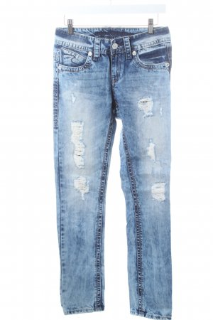 Blue Monkey Slim Jeans hellblau-blau Used-Optik
