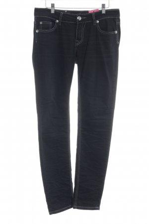 Blue Monkey Straight-Leg Jeans schwarz-silberfarben Casual-Look