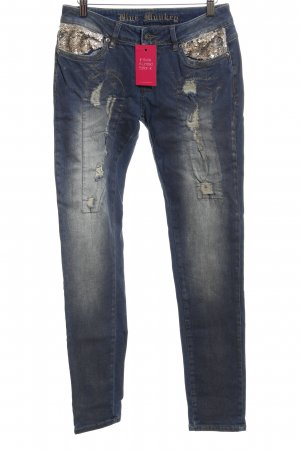 Blue Monkey Straight Leg Jeans steel blue distressed style