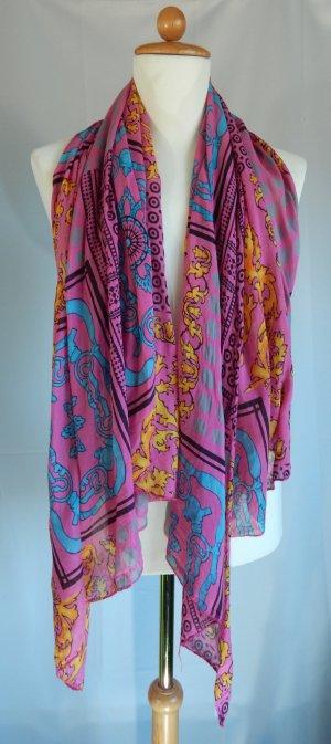 Blue Motion, asymetrisch geschnittener Schal-Tuch-20%Seide, pink-Ornamente