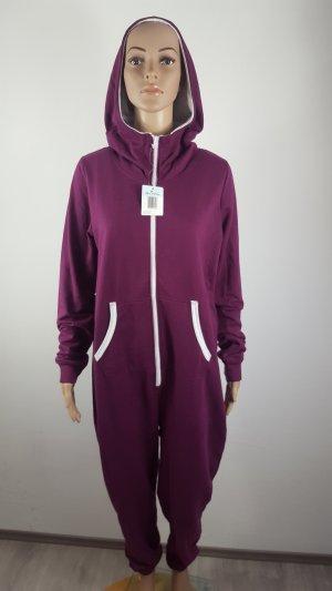 Blue Motion Damen Kuschel Sweatanzug Jumpsuit lila weiß Größe 40/42 NEU