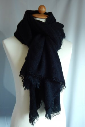 Blue Motion Fringed Scarf black polyacrylic