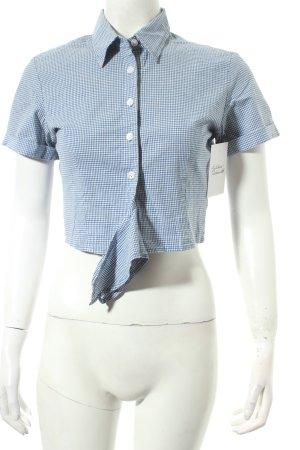 Blue One Kurzarm-Bluse weiß-stahlblau Vichykaromuster Retro-Look