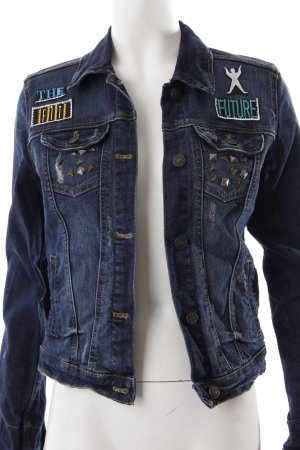Blue Ridge Denim Jeansjacke dunkelblau Punk-Look
