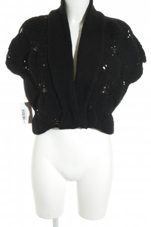 Blue Strenesse Knitted Vest black loosely knitted pattern casual look