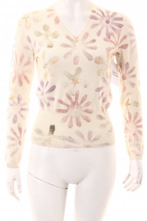 Blue Strenesse V-Neck Sweater flower pattern casual look