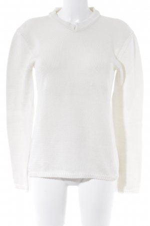 Blue Strenesse V-Neck Sweater natural white weave pattern casual look