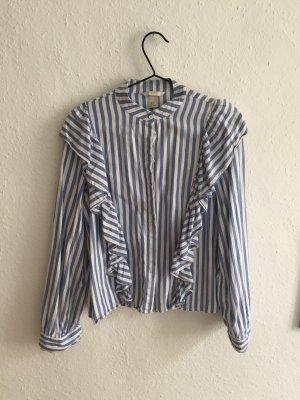 H&M Camicetta con arricciature bianco-azzurro