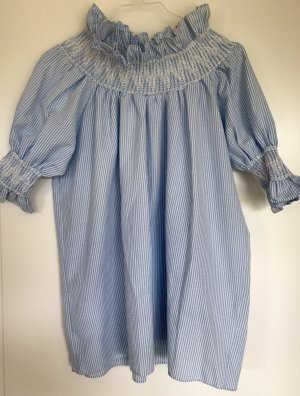 BLUE/WHITE STRIPED Off-Shoulder Mini Dress - NEW