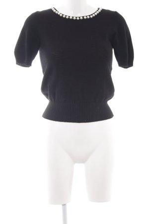 Bluegirl Wollpullover schwarz-weiß Perlenverzierung