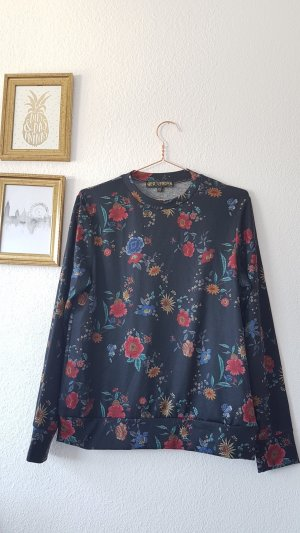 Blümchen Floral Print Muster Pullover Sweatshirt schwarz bunt