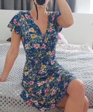 Blümchen Kleid blau bunt Frühling Sommer Wickeloptik XS 34
