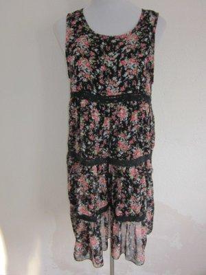 Blümchen Kleid Gr 42 #Romantisch Schwarz Bunt