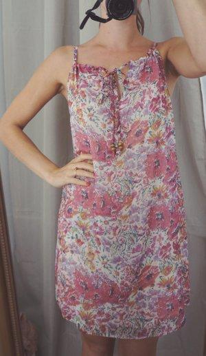 Blümchen Kleid mit Holzperlen rosa rosé bunt Print Blumen verspielt S 36 NEU