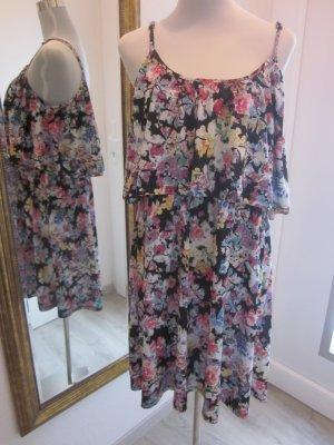 Blümchen Kleid Strech mit Volant Bunt Gr 44