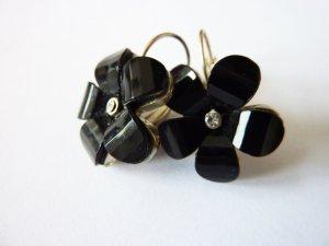 Blüten Ohrringe modische Ohrhänger silber schwarz