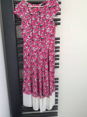 Blütenkleid mit in Falten gelegtem Blusenteil und schwingendem Rock, Gr. 40
