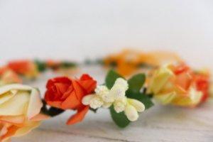 Blütenkranz Blumenkranz Haarreif Wiesn Oktoberfest Hochzeit Dirndl nude lachs neu