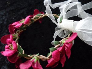 Ribbon bordeaux textile fiber