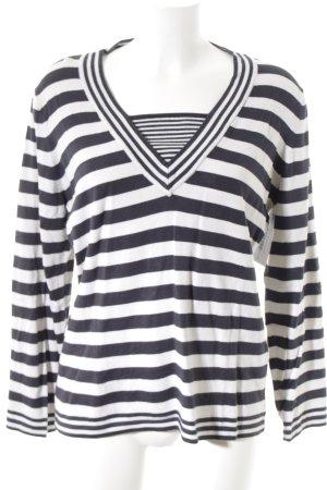 Bluhmod V-Ausschnitt-Pullover wollweiß-dunkelblau Streifenmuster Casual-Look