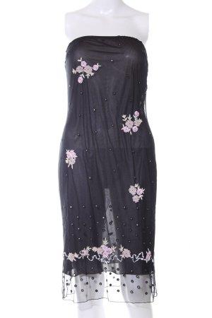 Blumarine Bandeaukleid schwarz-pink Blumenmuster Casual-Look