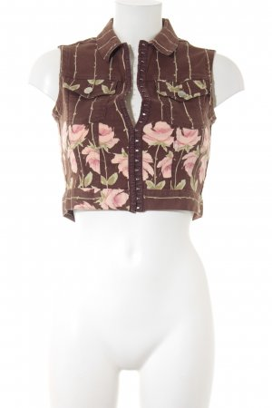 Blumarine Jeansweste florales Muster aufgesetzte Patten
