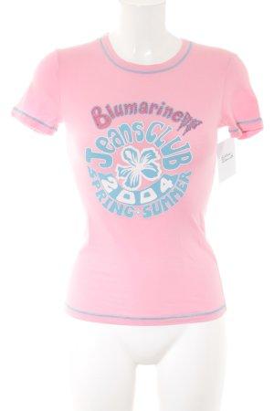 Blumarine T-Shirt rosa-hellblau Schriftzug gedruckt Casual-Look