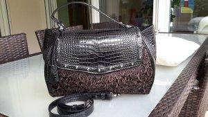 BLUMARINE Tasche/Handtasche schwarz/braun/silber NP €800,- neuwertig