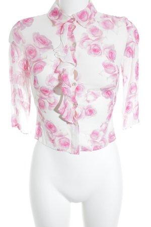 Blumarine Transparenz-Bluse wollweiß-hellrot Blumenmuster Romantik-Look