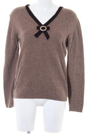 Blumarine V-Ausschnitt-Pullover hellbraun-schwarzbraun meliert Casual-Look