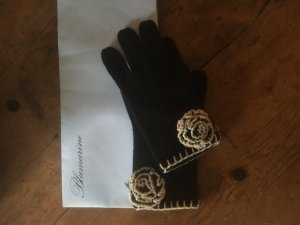 Blumarine Knitted Gloves black-white wool