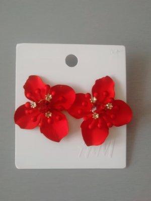 Blumen Blüten Ohrringe rot Schmucksteine