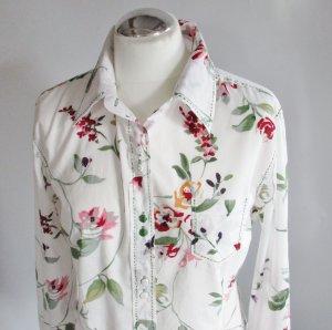 Blumen Bluse Wissmach Größe 40 M Weiß Grün Rot Landhaus Hemd Tunika Romantisch Rosen Blüten Flower