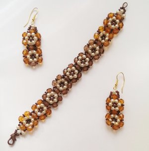 Blumen Glasperlen Set Ohrring Armband orange