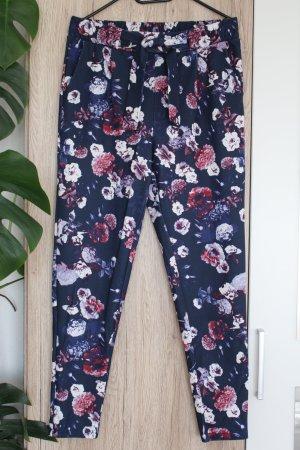 Blumen-Hose Stoffhose Dunkelblau Stretch M 38