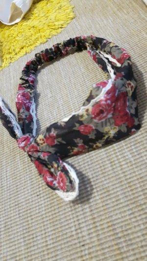 Blumen Kopfband Schwarz Rot Spitze Schleife