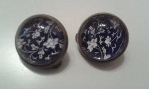 Blumen Ohrclips blau