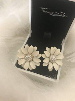 Blumen Ohrstecker Weiß Silber