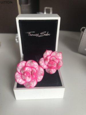 Blumen Ohrstecker XXL Rosa Pink Weiß