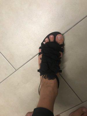 Blumen Sandale schwarz Größe 39
