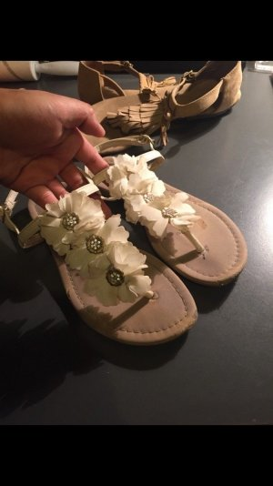 H&M Teenslippers wit-nude